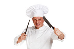 Angry chef with knife isolated. Stock Images