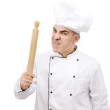 Angry chef with rolling pin isolated on white background Royalty Free Stock Photography