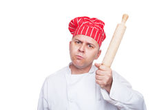 Angry chef with rolling pin. Isolted on white background Stock Images