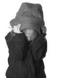Angry Child. An angry child on black and white Royalty Free Stock Images