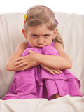 Angry child sad girl Royalty Free Stock Image
