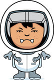 Angry Child Astronaut. A cartoon illustration of a boy astronaut looking angry Royalty Free Stock Photography