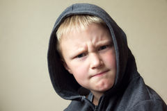 Angry child. (boy, kid) portrait stock image