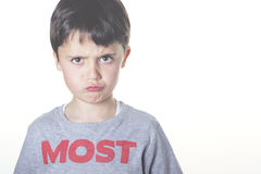 Angry child. Angry boy on white background Stock Images