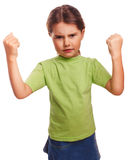 Angry child evil girl shows fists experiencing. Anger and isolated on white background stock images