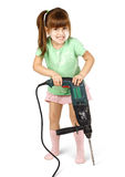 Angry child girl with electric drill Royalty Free Stock Photo
