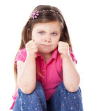 Angry child isolated on white Stock Image