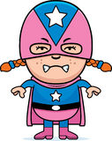 Angry Child Superhero. A cartoon illustration of a girl superhero looking angry Stock Photography
