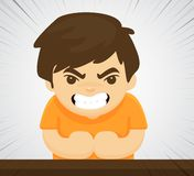 An angry child who shows violent aggressive behavior Because he was raised wrongly.  stock illustration