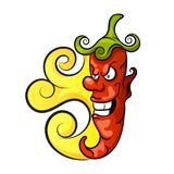 Angry chili pepper mexican. Angry chili mexican Hot flaming red pepper illustration Royalty Free Stock Photo