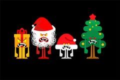 Free Angry Christmas. Crazy Christmas Tree And Gift Box. Mad Santa And Red Bag. Xmas And New Year Vector Illustration Royalty Free Stock Photography - 161474737