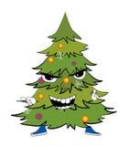 Angry christmas tree cartoon Stock Photos