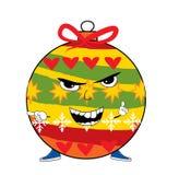 Angry christmas tree toy cartoon Stock Image