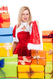 Angry Christmas woman Royalty Free Stock Images