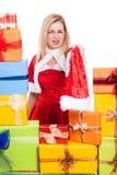 Angry Christmas woman Royalty Free Stock Images