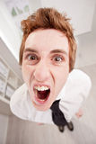 Angry clerk in wide angle shouting Royalty Free Stock Images