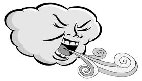 Angry Cloud Blowing Wind Cartoon Royalty Free Stock Images