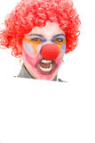Angry Clown Holding Blank Sign Royalty Free Stock Image