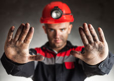 Angry coal miner shouting Stock Photography