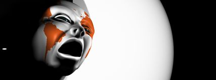 Angry colour head Stock Images