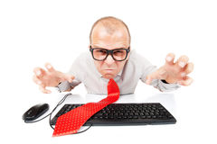 Angry computer geek Stock Photo