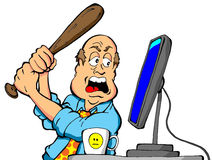 Angry Computer User. Cartoon of an angry computer user about to destroy his computer with a baseball bat Royalty Free Stock Photos