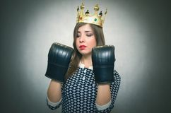 Angry confident woman. Female rivalry. Bossy girl. Stock Photos