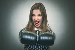 Angry confident woman. Wicked dissatisfied wife. Royalty Free Stock Photo