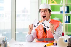 The angry construction supervisor cancelling contract. Angry construction supervisor cancelling contract royalty free stock images