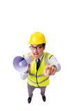 The angry construction supervisor isolated on white Stock Photo