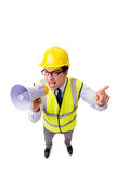 The angry construction supervisor isolated on white Stock Photography