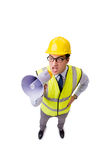 The angry construction supervisor isolated on white Royalty Free Stock Photo