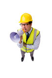 The angry construction supervisor isolated on white Stock Image