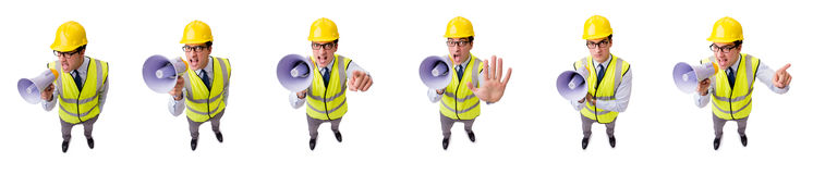 The angry construction supervisor isolated on white stock photos