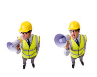 The angry construction supervisor isolated on white royalty free stock photos