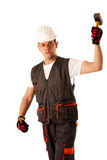 Angry construction worker threats with hamer Stock Image
