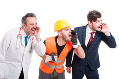 Angry constructor, medic or doctor and businessman Royalty Free Stock Photo