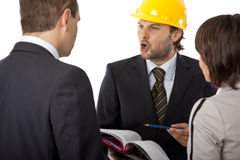 Angry contractor shouting. Angry contractor is discussing a plan with investors, isolated royalty free stock images