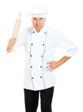 Angry cook with rolling pin Royalty Free Stock Photos