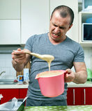 Angry cook and ruined recipe Royalty Free Stock Photo