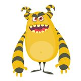 Angry cool cartoon fat monster. Orange and horned vector monster character. Angry cool cartoon fat monster. Orange and horned vector monster character Stock Photo