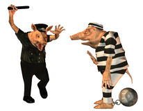 Angry cop with a prisoner cartoon pig Stock Image