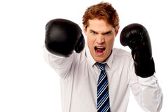 Angry corporate guy in action Royalty Free Stock Image