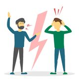 Angry couple argue. People shouting and fight. Dispute between man. Stress, problem in relationship. Disagreement. Guy yelling vector illustration