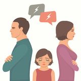 Angry couple fight, parents divorce. Sad child crying, family vector illustration Stock Images