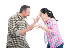 Angry couple fighting and shouting Stock Image