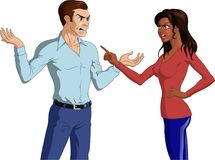 Angry Couple Having an Argument. Vector illustration of an angry Black woman and a furious Caucasian man having an intense argument with hand gestures Stock Images