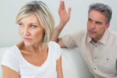 Angry couple having a fight at house Royalty Free Stock Image