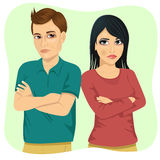 Angry couple looking at each other over shoulder and holding their arms crossed Stock Image