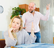 Angry couple during quarrel Stock Photos